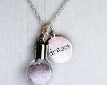 Dream Fairy Dust Necklace, Sterling Silver Necklace, Fairy Magic Dreams, Sparkle Dust