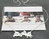 Custom 3 Pet Portrait TaGette Necklace .. Sterling Silver silhouette Jewelry Memoralize Keepsake