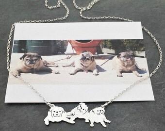 Custom 3 Pet Portrait TaGette Necklace .. Sterling Silver silhouette Jewelry Memoralize Keepsake