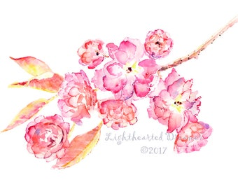 Watercolor Flowers, Cherry Blossom Art, Girl's Bedroom Print, Cherry Blossom Print, gift for mom, Cherry Blossom Painting