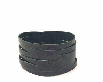 Leather bracelet, leather wrap cuff, boho bracelet, multi strand bracelet, leather cuff, forest green leather bracelet, boho wrap cuff,green