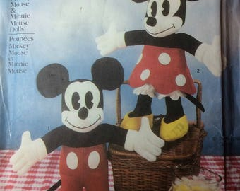 """Vintage Sewing Pattern  Walt Disney Classic Mickey and Minnie Mouse Dolls 1986 Uncut Toys 18"""" Tall"""