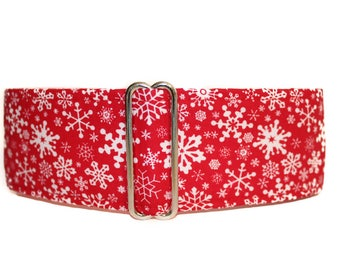 Christmas Martingale Collar, 2 Inch Martingale, Red Martingale Collar, Christmas Dog Collar, Snowflake Dog Collar, Holiday Martingale Collar