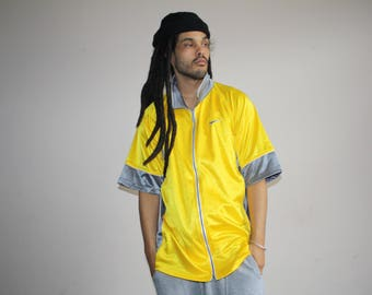 90s Vintage Nike Air Bright Yellow Colorblock Hip Hop Athletics Track Sweater Shirt - 1990s Nike - 90s Clothing - MV0437