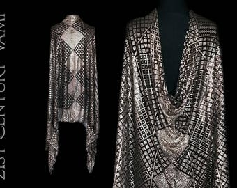 1920s Assuit Shawl. Art Deco Geometric Pattern. Egyptian Revival. Tulle Bi Telli. Flapper. Jazz Age. Bellydance. Tribal Fusion.