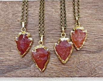 Gold Brass Carnelian Rough Arrowhead Necklace/ Hand-Knapped Rough Arrow Mineral Gem/ Gemstone Bohemian Necklace (EP-BNA10-CN)