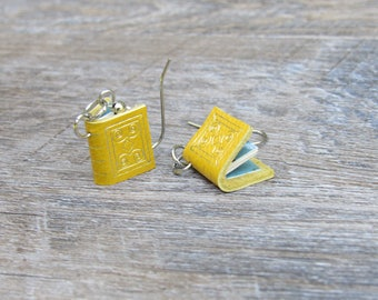 Yellow Leather Book Earrings, with custom gilded image, marbled endpapers and vintage paper