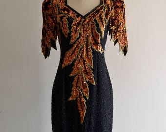Lillie Rubin sequin Bra Cup Bronze Leaf Dress peter pan sleeves V Open Back street style