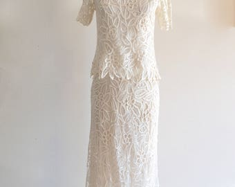 White Wedding Cut Out Lace Richelieu Embroidery Two Pieces Sequins Beaded silk long skirt suits cocktail White Party New Years