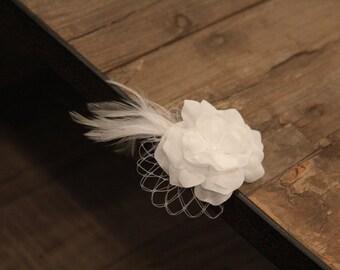 Flower girl hair clip, includes Priority shipping, vintage clip, off-white flower hair clip, flower girl hair accessorie, feather hair clip