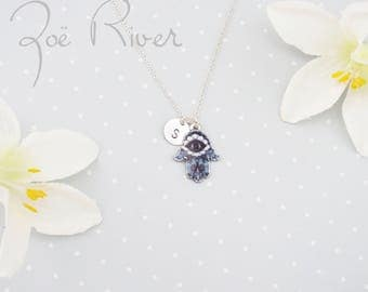 Personalized initial and hamsa evil eye necklace. Navy blue hamsa necklace. Evil eye necklace. SIlver hamsa necklace. Personalized necklace
