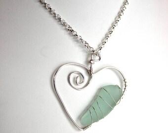 Silver Sea Glass Heart Aqua Necklace Beach Glass Pendant Valentine Love