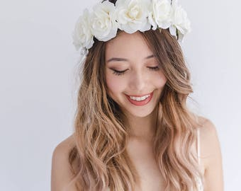 ivory rose crown // ivory wedding flower crown, ivory flower crown, white flower crown, white wedding crown, ivory flower hair wreath, halo