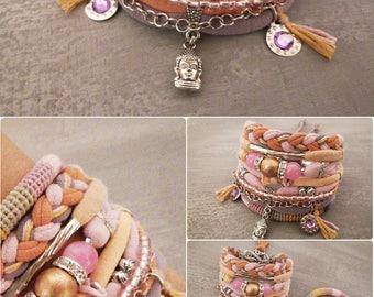 Peach Pink Agate Bohemian Bracelet, Boho Bracelet Set, Pastel Layering Bracelets, Gypsy Bracelet, Hippie Jewelry Buddha Bracelet
