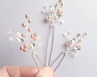 Rose Gold Hair Pins, Rose Gold Wedding Accessories, Bridal Hairpieces, Beaded Hair Comb, Crystal Hair Pins, Hair Clips, Wedding Hair