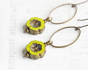 Chartreuse Green Earrings, Earthy Flower Earrings in Antiqued Brass, Green Dangle Earrings, Czech Glass Bead Earrings, Floral Jewelry