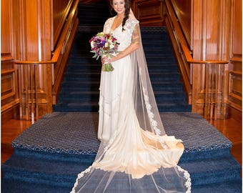 Wedding Veil - Cathedral Length with French Alencon Lace starting at Waist