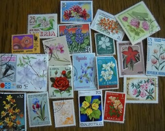 20 Vintage FLOWER Postage Stamps for crafting collage altered art journals scrapbooks philately commemorative stamps b3