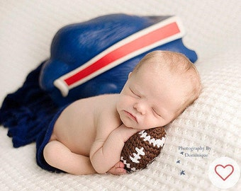 Newborn Baby Boy Photo Outfit - Football Newborn Photo Prop - Newborn Props - Baby Boy Crochet Outfit - Infant Prop - Infant Crochet Set
