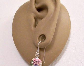 Sterling Silver 925 Pink Pastel Green Blue Crystal Rhinestone Encrusted 9mm Beads Wire Pierced Stud Earrings Vintage Faceted Round Dangles
