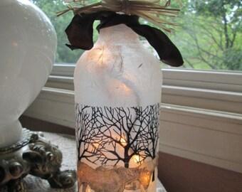 bare trees,horses,winter trees,wine bottle lights,wine bottle lamp,lighted bottles,lighted wine bottles,lamp,glass lighted bottles,lamps