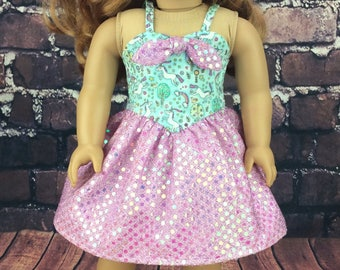18 inch doll clothes AG doll clothes dress made to fit dolls like american girl doll clothes. Sequin unicorn dress.