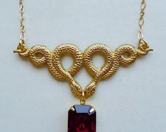 Serpentine // Gold Snake Necklace with Vintage Garnet Green Swarovski Crystal, Art Deco Retro Bohemian Gypsy Witch Occult Fantasy Cosplay