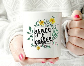 Grace and Coffee Ceramic Mug - inspirational bible verse. resurrection. Devotions mug
