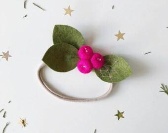 Felt Flower Headband or Alligator Clip // Magenta Rose Buds, giddyupandgrow