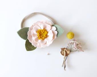 Peony Felt Flower Headband or Alligator Clip // Blush Pink, Giddyupandgrow