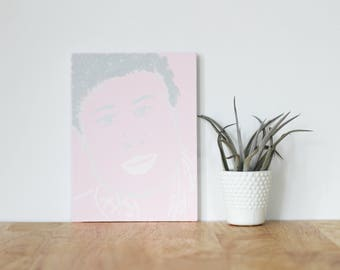 """pink wall art acrylic painting, """"aminatou sow"""" - are you my bestie, flat 6x8 canvas, gift for friend, best friends, portrait, home art"""