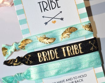 Bride Tribe Hair Tie, Bachelorette Hairties, To Have and to Hold Your Hair Back, Wedding Favor, Bridal Shower Favor, Creaseless Hairtie