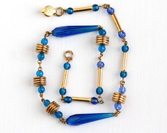 Sale - Vintage Art Deco Cobalt Blue Glass Beaded Necklace - 1930s Gold Brass Tone Geometric Round & Faceted Beads Unique Costume Jewelry