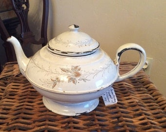 French Country Antique Vintage Graniteware Enamelware Teapot Floral