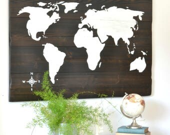 World Map Sign, Map Sign, Wooden Sign, World Map Wall Art, World Map Wooden Sign, Travel Sign, Wall Decor