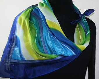 Hand Painted Silk Scarf. Blue, Lime, White Handmade Silk Scarf HAWAIIAN BREEZE. Silk Scarves Colorado Extra-Large 35x35 square Birthday Gift
