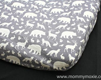 Woodland Fitted Crib Sheet/Changing Pad Cover/Mini Crib Sheet - Deer Bears Wolf Squirrel for the Adventure Themed Nursery -Mommy Moxie Etsy