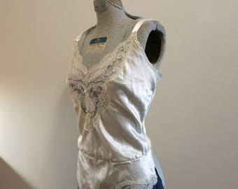 Bodysuit teddy ivory white satin lace wedding bridal lingerie S