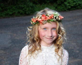 coral flower crown, READY TO SHIP, vintage peach tieback, maternity flower sash, ready to ship, deep peach tieback, orange flower crown