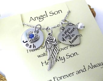 Super Sale Now Son Memorial Jewelry, Son Memorial Necklace, Sympathy Gift, Angel Son, Son Bereavement, Loss of Son, Son Loss