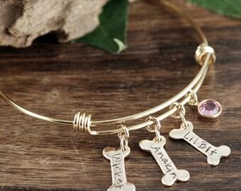 Personalized Dog Mom Bracelet, Pet name Bracelet, Dog Mom Gift, Dog Paw Bracelet, Personalized Pet Jewelry, Gold Dog Bone Bracelet