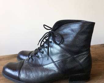 Vintage 90s Leather Black and Grey Patchwork Ankle Boots, Granny Boots, Lace Up Boots, Women's Boots, Size 8.5