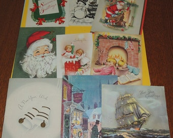 1940s to 1960s  Christmas and New Years Cards for Re Purposing