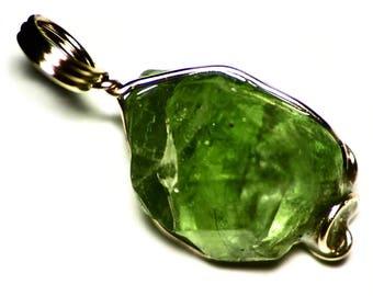 Raw Peridot Necklace, 14k Gold Peridot Crystal Wire Wrap, Green Peridot Birthstone Jewelry (15.1 ct) 14 kt Gold Birthstone Pendant For Him