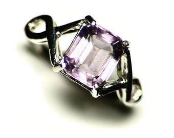 Amethyst Ring Women Size 6 1/2 Sterling (2.33 ct) Silver Solitaire Amethyst Ring, Emerald Cut Amethyst Ring, Sterling Silver Girls Ring