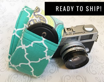 READY TO SHIP - Camera Strap, Padded with Lens Cap Pocket, Nikon, Canon, dslr Photography, Photographer Gift, Wedding - Teal Moroccan