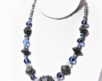 Vintage Tribal Sterling Silver Beads Blue Art glass Crystal Necklace