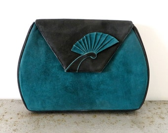 Vintage Bally Teal Green and Black Suede Clutch/Bally Suede Purse/1980's Bally Purse