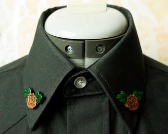 Metallic Brass Leather Rose Collar Pins Brooch - Ready to ship!
