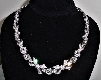 """Vintage, MINT, Elegant, Swan Stamped Swarovski Clear Crystal Necklace with extention to 18"""""""